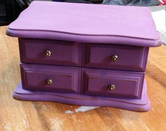 Repurposed Purple Small Jewelry Box
