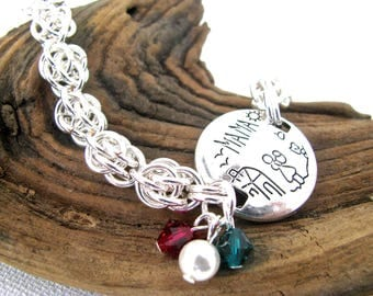 Personalized Mother's Day Bracelet - Silver Mama Fieldstone Chain and Crystal Birthstone Cluster Bracelet