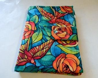 Green and Orange Swallows Fabric Mini iPad/Nook Color Cover