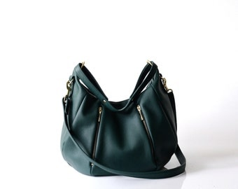 Soft Pebbled Leather Handbag OPELLE Ballet Bag in Emerald green leather