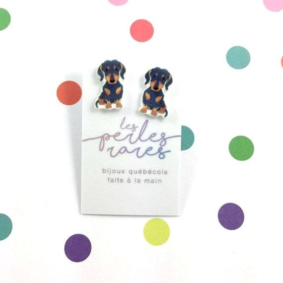 teckel, black, brown, dog earring,dog,  hypoallergenic, plastic, stainless stud, handmade, les perles rares
