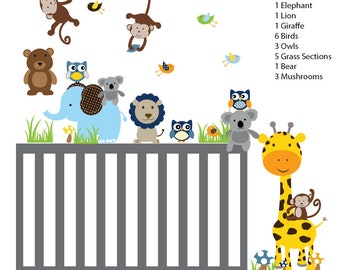 Jungle Animal Wall Decals, Animal Decals, Baby Wall Decals