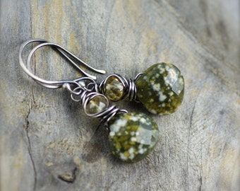 YEAR END CLEARANCE. Ocean Jasper and Citrine Gemstone Earrings with Sterling Silver. Wire Wrapped Jasper Earrings. Simple Jasper Earrings