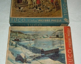 Two vintage Jigsaw puzzles by Tuco work shops Fox hunting covered bridge