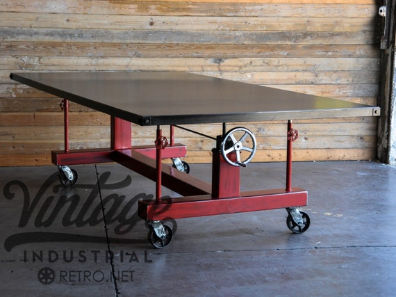 Vintage industrial crank table for Vintage crank table