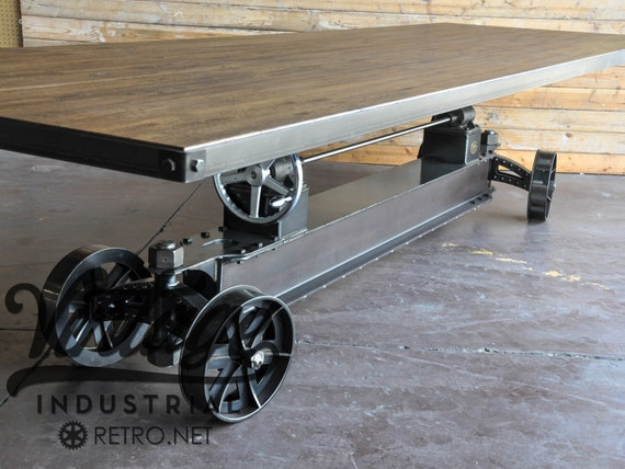vintage industrial train crank table