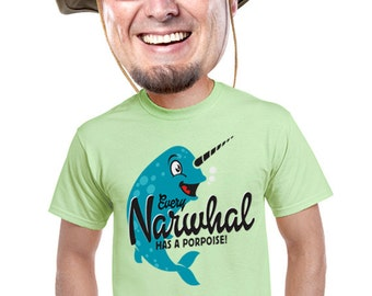 narwhal mens shirt quirky fishing tee for fishermen geek nerd fan of narwhal funny pun fish whales aquatic sea life retro vintage print s-4x