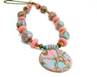 Polymer Clay Beaded Necklace, Handmade, Rose Pink and Turquoise, Spring and Summer Jewelry, Abstract Pattern