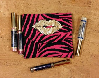 LipSense, Lipstick, lip gloss pouch, holder, custom made, black & pink zebra print, holds 5-6 lipsticks, great down line gift, gold lips