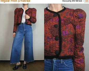 FALL SALE 80s QUILTED Cropped Vintage Burnt Orange Persimmon Puffed Sleeve Floral Persimmon Rayon Victorian Style Bolero Jacket xs Small 198