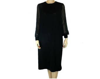 XL/18 As Is Wounded Bird Vintage 1960's Black Cocktail Dress with Sequins, Long Sheer Sleeves,  X-Large