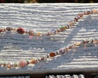 SALE - Welo opal necklace  by EvyDaywear, Rainbow Ethiopian opals on sterling silver choker on leather and bracelet