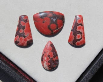 Hornitos Poppy Jasper Cabochon Selection, jewelry making designer natural stone cabochons in red pink and brown, teardrop polygon hand cut