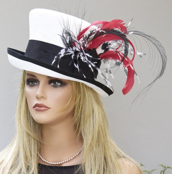 Kentucky Derby Hat. Derby Hat, Ascot Hat, Black Red & White Hat. Formal Hat, feather hat