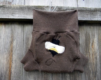 Upcycled Merino Wool Soaker Cover Diaper Cover With Added Doubler Brown With Bumble Bee Applique LARGE 12-24M