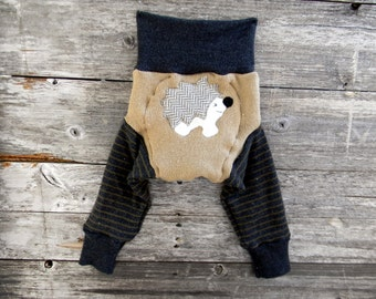 MEDIUM Upcycled Merino Wool Longies Soaker Cover Diaper Cover With Added Doubler Beige/ Charcoal Gray Stripes With Hedgehog Applique 6-12M