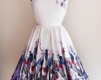 1950s Border Print Dress
