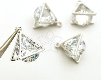 PD-1896-OR / 2 Pcs - Brilliant Cut Cubic Zirconia in Triangle Shell Frame, Clear CZ Charm Pendant, Silver Plated Brass Frame / 9mm x 11mm