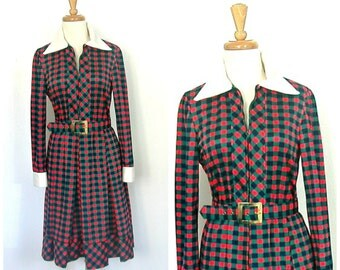 Vintage Secretary Dress - shirtwaist - 70s dress - full skirt - knee length - Saks - long sleeve - Medium