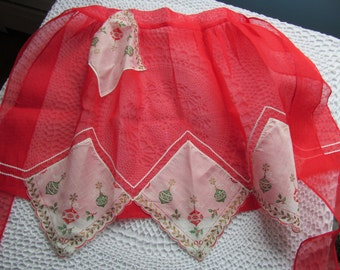 Vintage Red Sheer Christmas Apron Half Tie at Waist Handkerchief Pocket Ornament Print