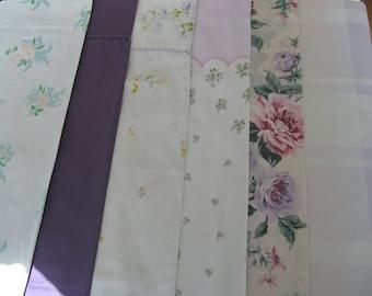 6 Vintage Pillowcases Assorment Assorted Floral All Different Purple Lavender Designs Flowers Lot