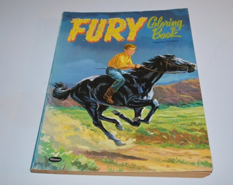 Vintage Fury coloring book 1958 unused black horse authorized TV edition horse