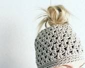 Crochet messy Bun Hat Beanie  READY TO SHIP