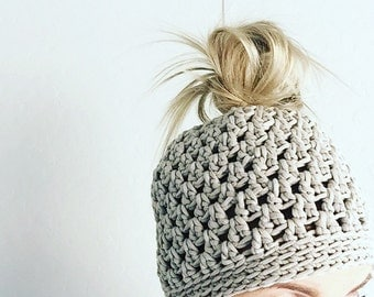 Crochet messy Bun Hat Beanie  READY TO SHIP