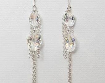 0052- Swarovski Crystal Drops in sterling-silver