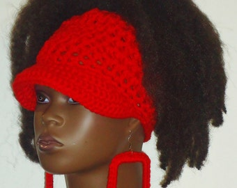 Up Top PonyTail Crochet Baseball Cap with Earrings by Razonda Lee Razondalee Choose Your Color