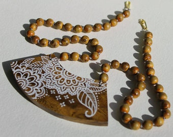 Henna Flower Hand Painted Bib Wood Focal Necklace with Wood Beads