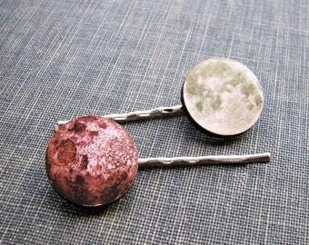 SALE full moon hair clip set - 2 hair pins . pale sepia green & pink moon hairpin jewelry . bohemian hair accessories