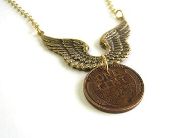 SALE flying penny necklace . wheat penny necklace . lucky penny jewelry . good luck in flight . gold wings necklace