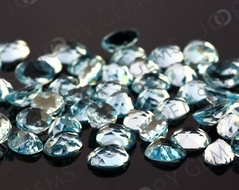 Sky Blue Topaz Honeycomb Faceted Oval Cabochon 8x6mm - 1 cab