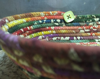 CottonPottery Tie Die Batik Fabric Coiled Bowl/Basket