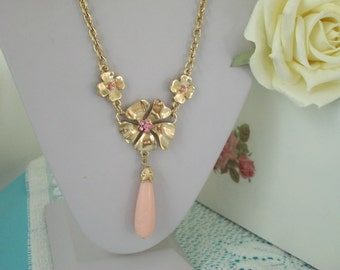 Pink Flower Y Necklace 1928 Company