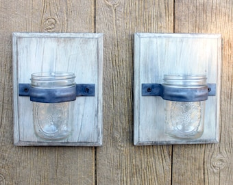 Mason Jar Wall Sconce, Mason Jar Decor, Mason Jar Wall Decor, Rustic Home Decor, Rustic Wall Decor, Wall Decor