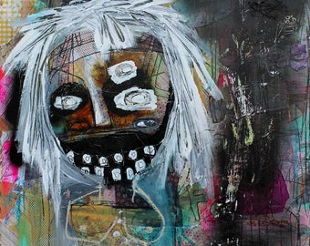Abstract Portrait Art Print. outsider art, art brut, Colorful wall art, dark art. strange home decor, monster art, surrealiam painting, raw
