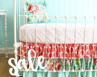 "SALE 30% OFF Coral Bumperless Crib Bedding - ""Coral Bliss"" design"