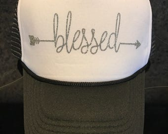 blessed or love glitter trucker hat