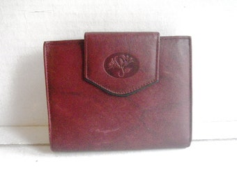 Buxton Leather Wallet Maroon Kiss Lock Metal Clasp Coin Purse 1980s