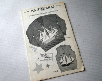 Sailboat Knit O Graf Child Pullover Sweater or Vest Knitting Pattern Boys