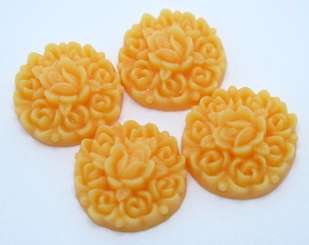 4PCS - Rosebud Flower Cabochons - Resin - Light Orange - 17mm - Cabochons by ZARDENIA