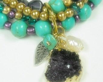 Druzy Necklace, Turquoise Necklace, Mixed Gemstone, Multistrand Druze, Pearls, Drusy, Purple Druzy Agate, Druzy Jewelry, Druse, Boho, Multi