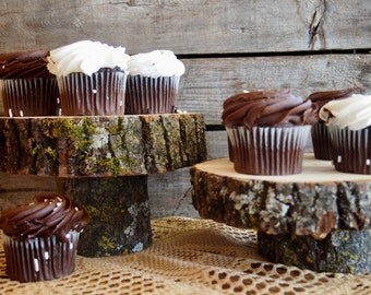 Cupcake HOLDER - Brown - Natural Wood Stand - Tree Cake Stand - Perfect for Country Weddings