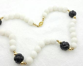 Givenchy Glass Beaded Strand Necklace Black and White Classic