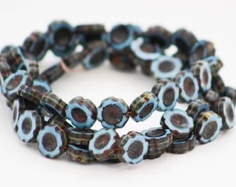 Cornflower pale powder blue opaque Czech glass flower beads - packs of 6