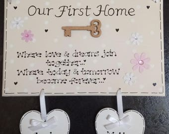 Personalised Our First Home First New House Warming Key Couple Gift Plaque Sign