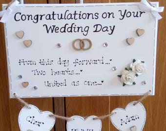 Personalised Congratulations On Your Wedding Day Marriage New Couple Gift Plaque Sign