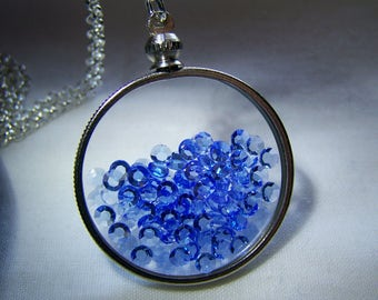 Floating Sapphire Crystals Double Sided Glass Memory Locket